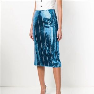 Victoria Beckham Sequin Stripe Lagoon Blue skirt